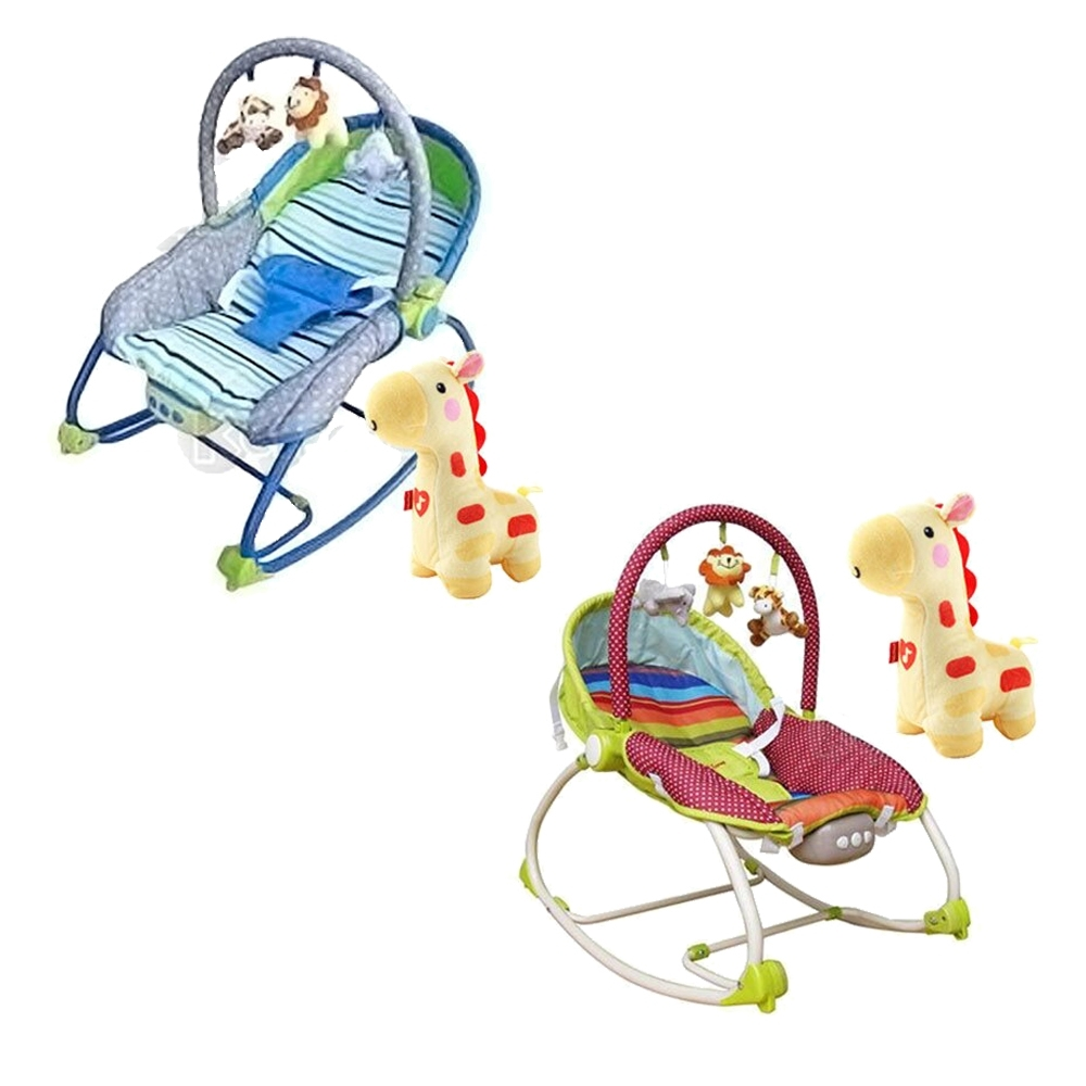 Mother's Love 嬰兒震動搖椅藍/綠BR212+費雪牌 聲光安撫長頸鹿