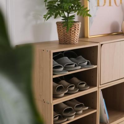 樂嫚妮 二層收納櫃/空櫃/書櫃-層板可抽-楓木色3入組-42X28.2X28.8cm
