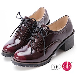 mo.oh愛雨天-復古擦色粗跟牛津跟鞋-酒紅色