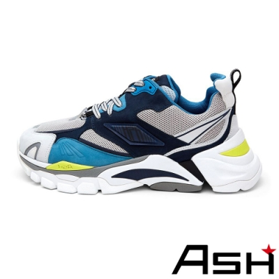 ASH-FRESH時尚潮流拼接撞色厚底增高老爹鞋-藍