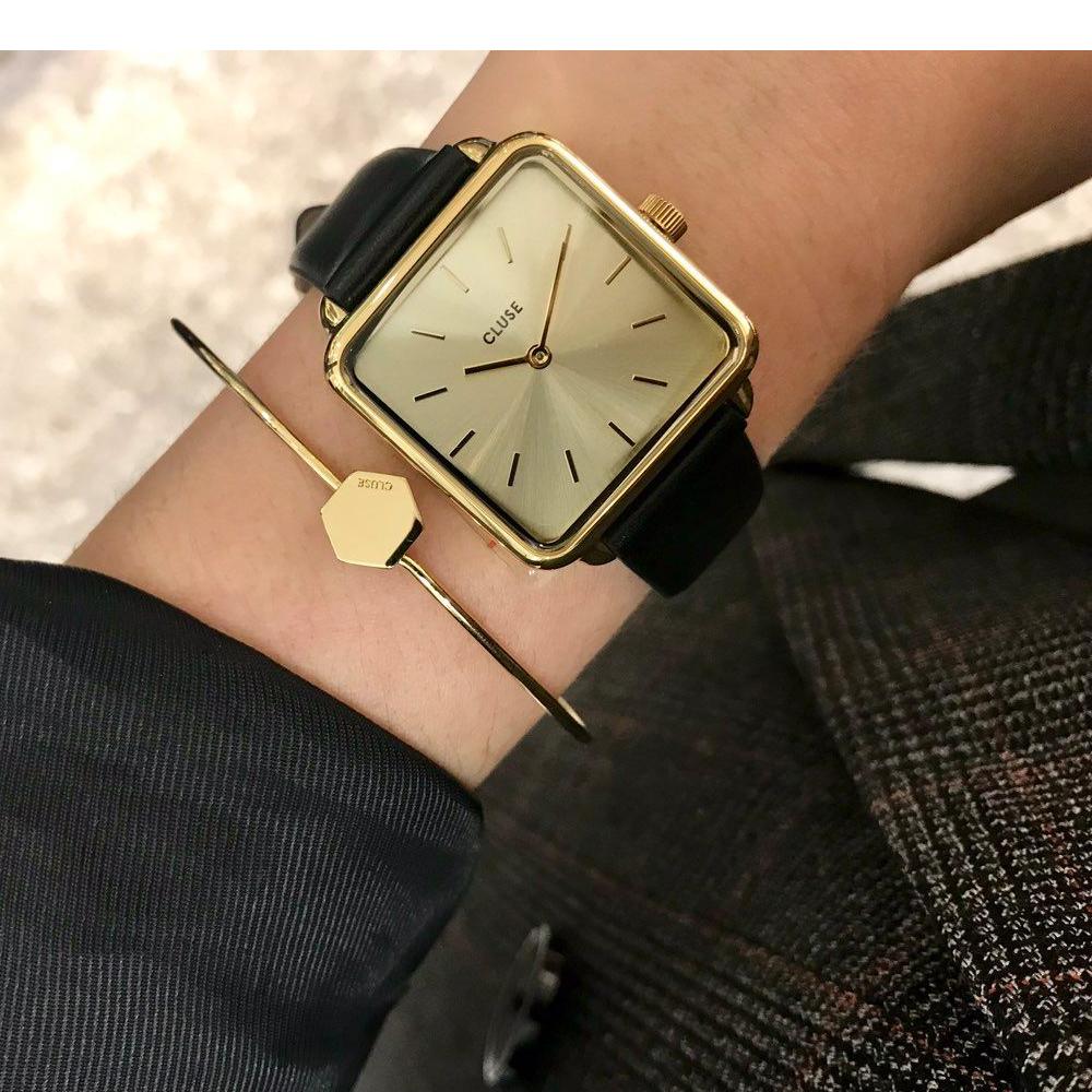 CLUSE La Garçonne腕錶/ 經典金框金底/ 黑錶帶-28.5mm
