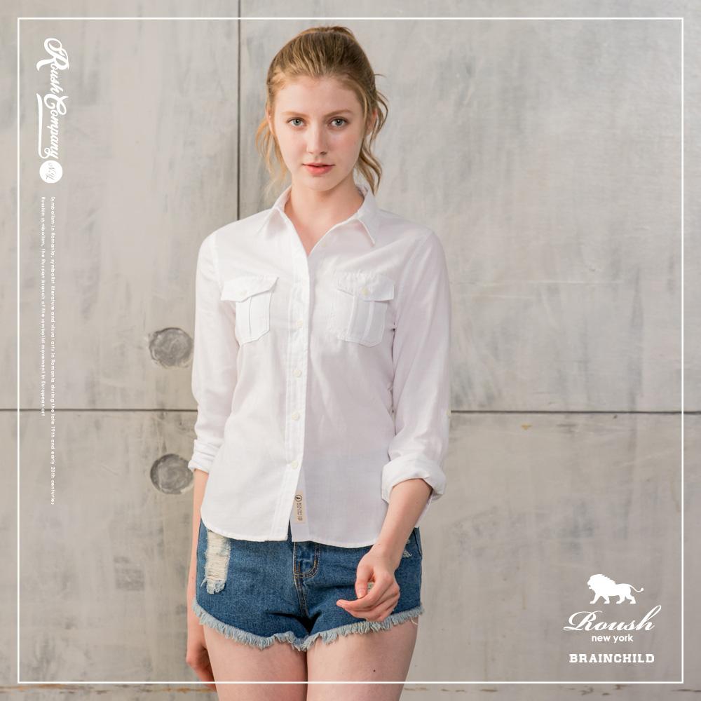 Roush 女生雙口袋牛津布襯衫(4色)