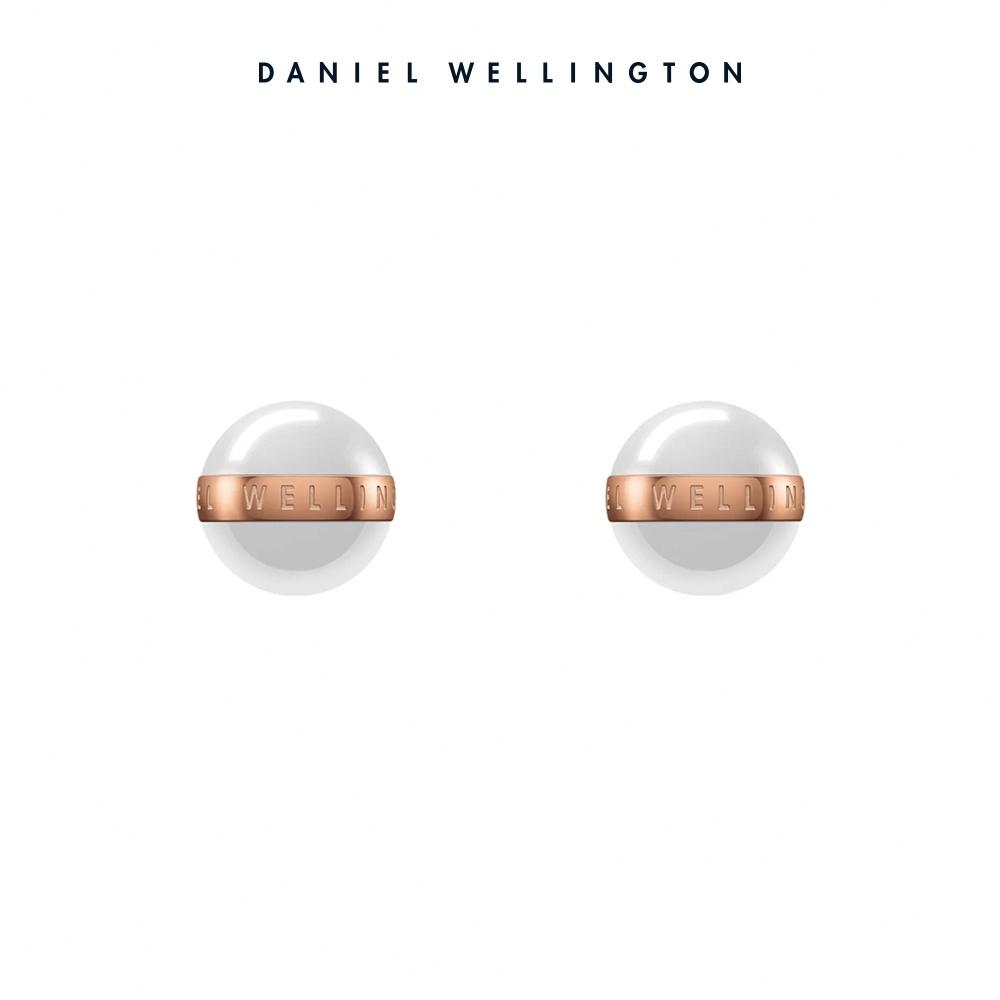 【Daniel Wellington】Aspiration 純淨優雅耳環-玫瑰金x白 DW耳環