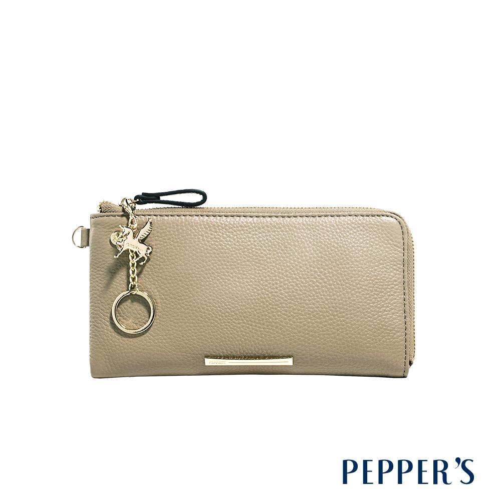 PEPPER`S Blake 牛皮手拿包 - 亞麻灰
