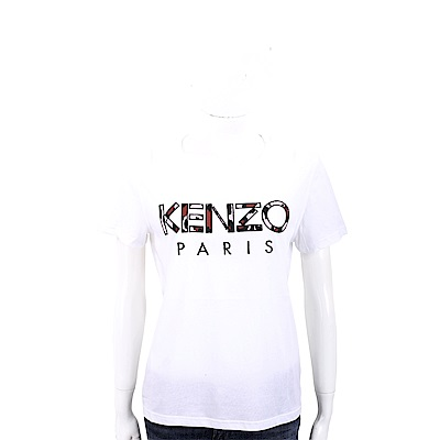 KENZO 補丁豹紋印花字母白色棉質短袖T恤