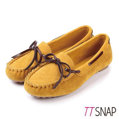 TTSNAP莫卡辛-經典蝴蝶結豆豆平底鞋 黃