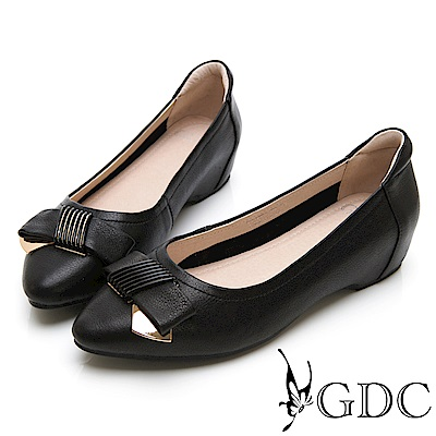GDC-真皮簡約質感舒適蝴蝶結上班包鞋-黑