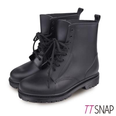 TTSNAP雨靴-圓頭繫帶馬汀短筒防水靴 黑