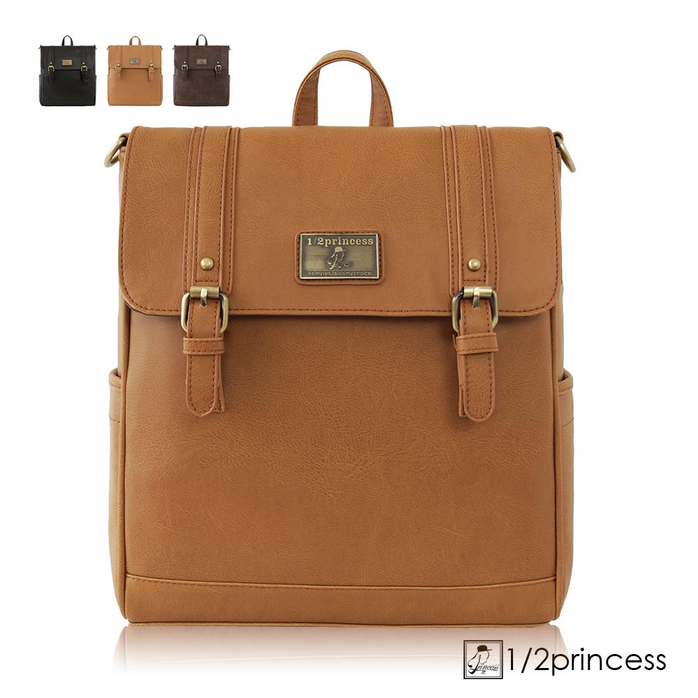 1/2Princess二代復古皮革經典雙扣文青三用背包-卡其[A2625-1](快)