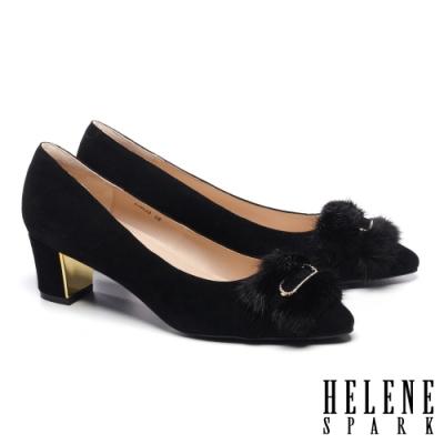 高跟鞋 HELENE SPARK 奢華暖感水貂毛鑽釦全真皮粗高跟鞋-黑