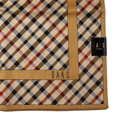DAKS  經典粗斜格 大款帕領巾-深駝色