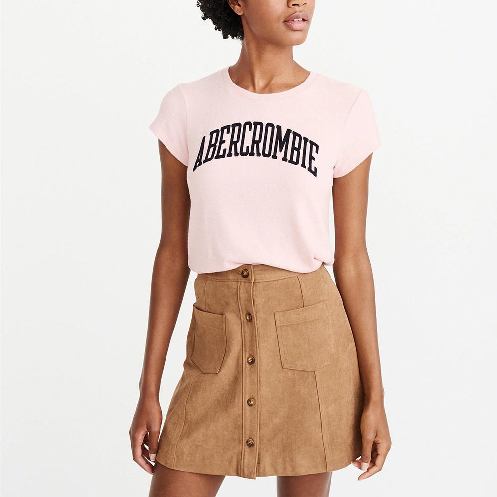 麋鹿 AF A&F 經典文字設計短袖T恤(女)-粉色