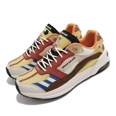 Skechers 休閒鞋 GLOBAL JOGGER 海賊王聯名 男鞋 One Piece 航海王 漁人島 騙人布 黃棕 894035-NMLT