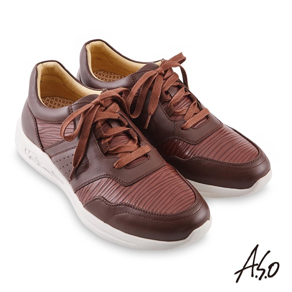 A.S.O 機能休閒 勁步健康異材綁帶休閒鞋-深咖啡