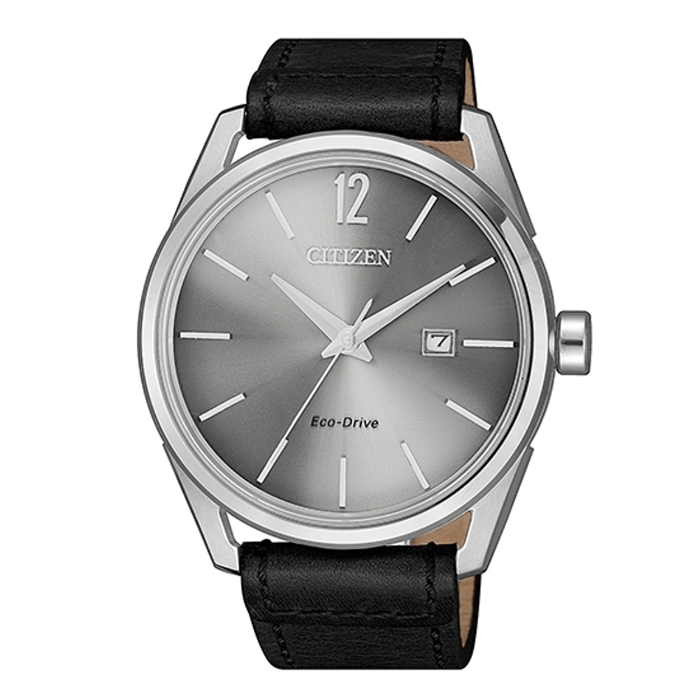 CITIZEN 星辰Eco-Drive 折射光小牛皮時代風格腕錶(BM7411-16A)