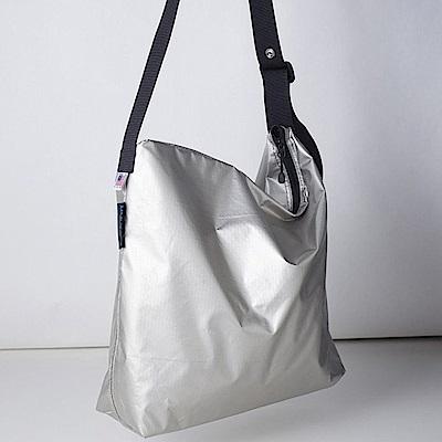可收納式拉鍊托特包 - 肩背斜背兩用 水星亮銀