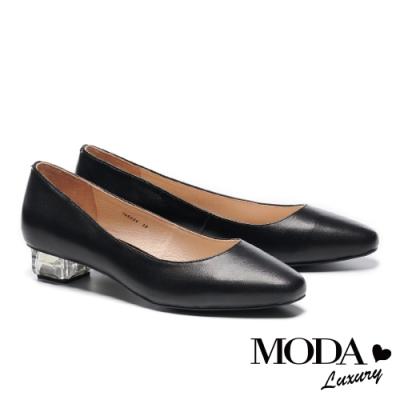 低跟鞋 MODA Luxury 簡約時尚獨特透明造型低跟鞋-黑