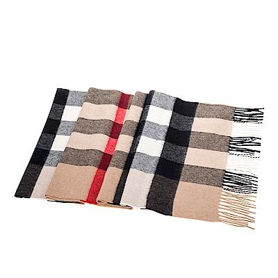 BURBERRY 經典格紋大款喀什米爾圍巾/披肩 (駝色200X36CM)