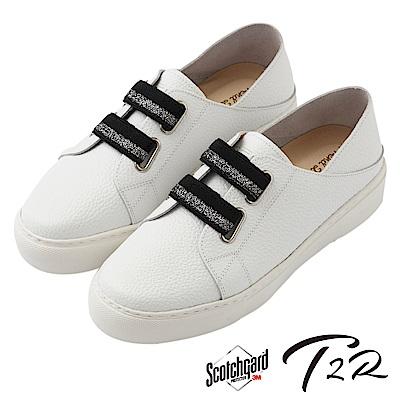 【T2R】真皮手工免綁帶休閒懶人鞋-白