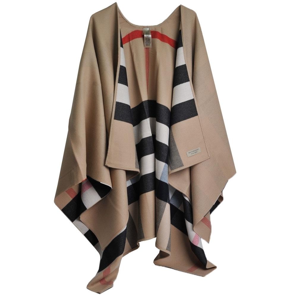 [品牌日限定]BURBERRY 義大利製雙面用格紋特級美麗諾羊毛斗篷