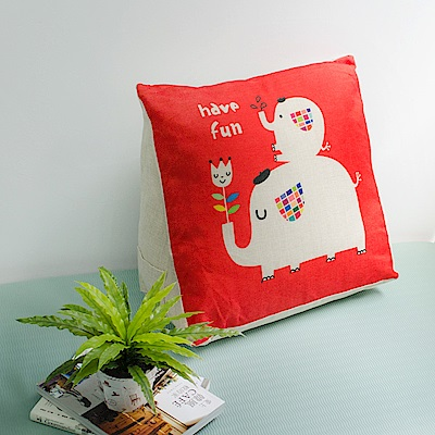 【收納職人】Zakka日系雜貨風棉麻織紋舒壓三角抱枕/靠枕/腿枕(紅底大象朋友)