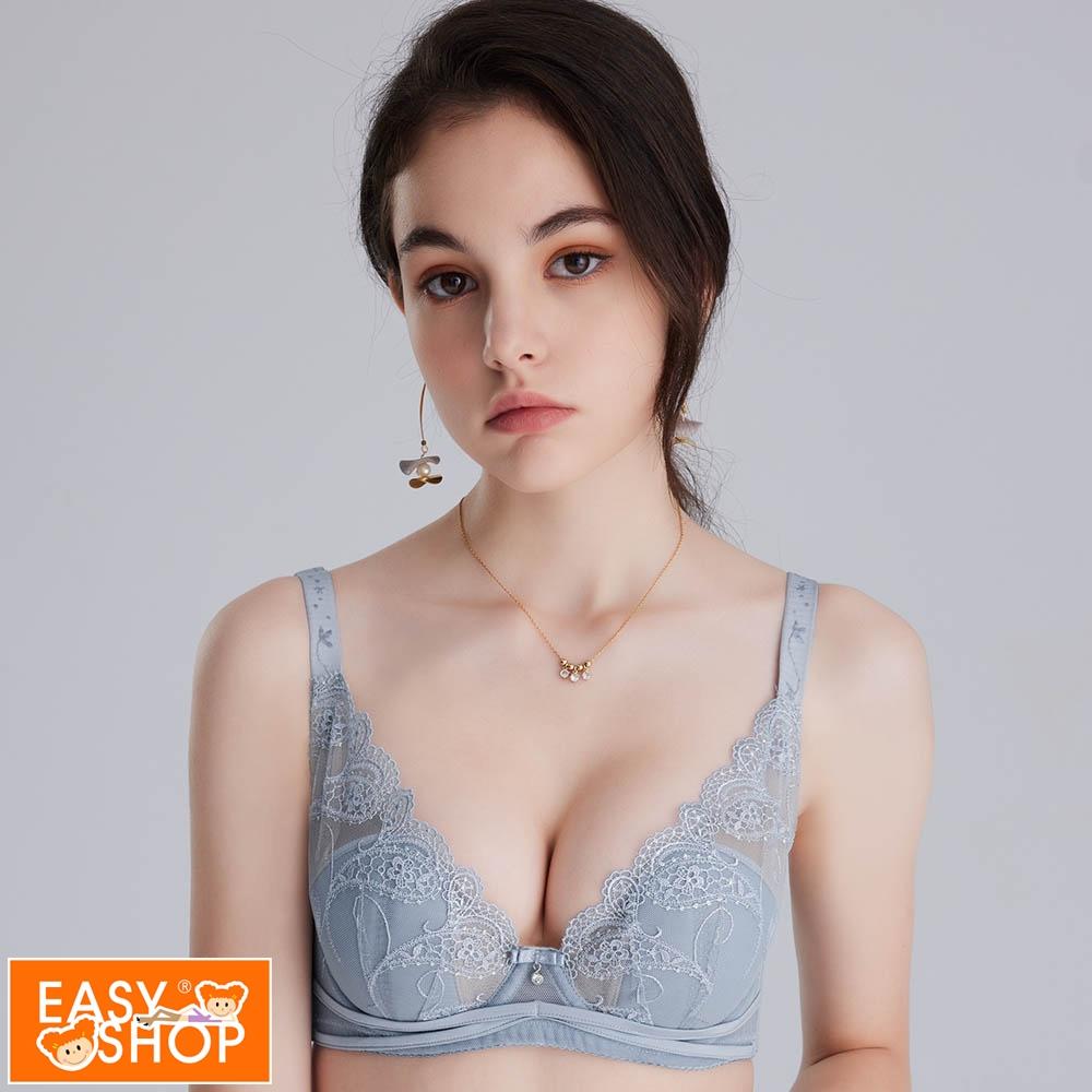 EASY SHOP-Audrey-花羽-豐滿胸型擺脫悶熱法式薄杯不露點內衣-好搭活力灰