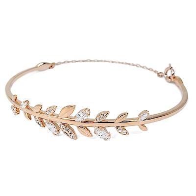 SWAROVSKI 施華洛世奇 Mafly葉子造型水晶玫瑰金手鍊手環