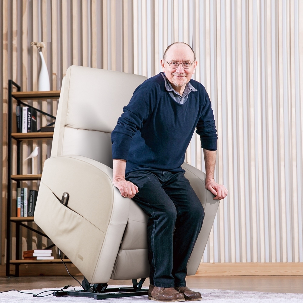 Sun Pin_Grenville格倫維爾勛爵半牛皮電動躺椅-優雅灰 W77*D76-154*H93-137 cm