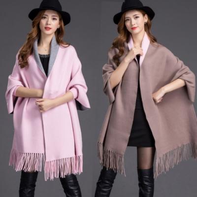 La Belleza雙色兩面穿質感手袖流蘇針織毛料網美披肩式外套