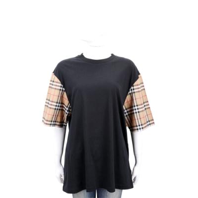BURBERRY Vintage 經典格紋拼接棉質短袖上衣(女款)