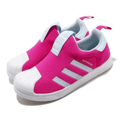 adidas 休閒鞋 Superstar 360 童鞋 愛迪達 三葉草 套入式 貝殼頭 中童 粉 白 FV3366