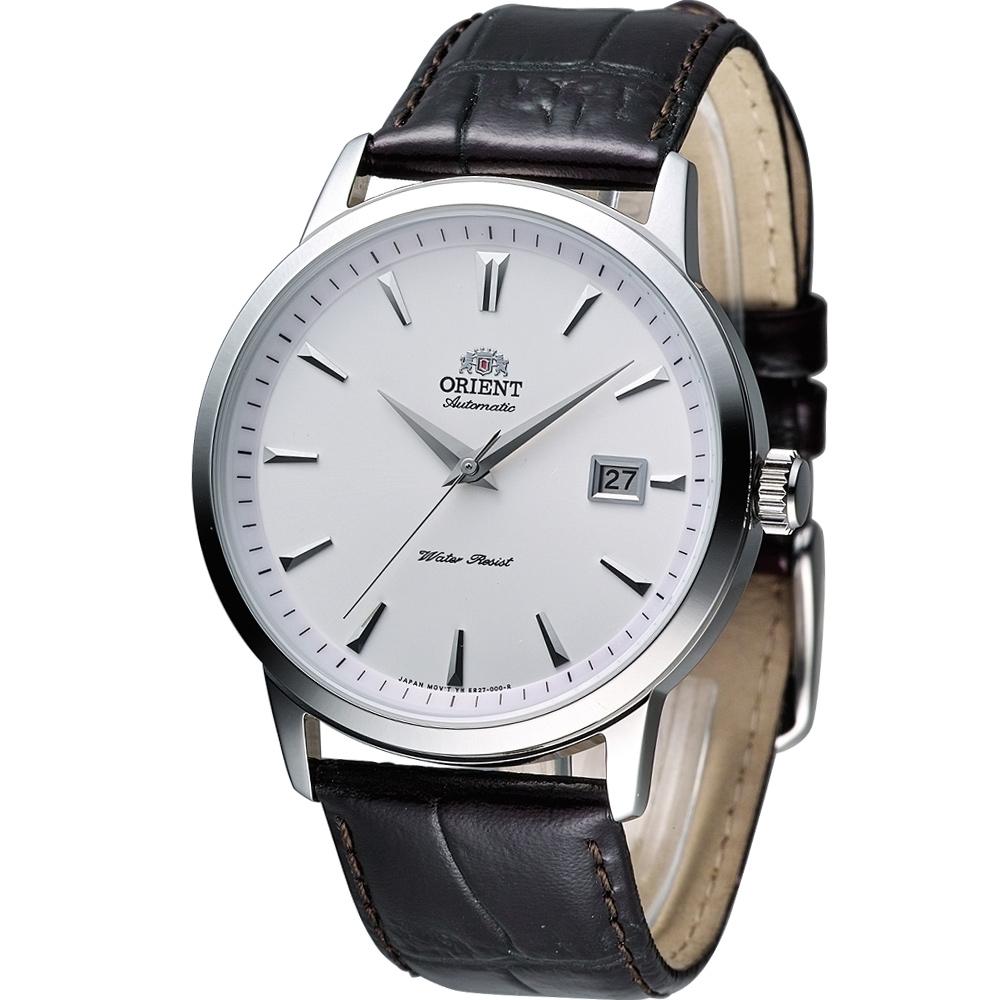 ORIENT 簡約時尚機械錶(FER27007W)白/41mm