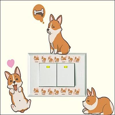 【itaste小品味】 柯基犬貼貼系列開關壁貼-柯基日常12cm*16cm