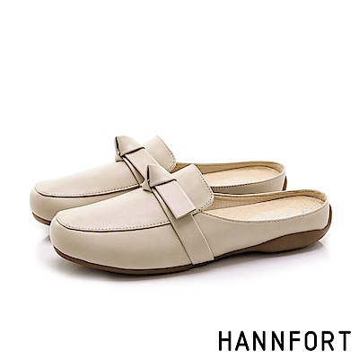 HANNFORT RIPPLE 蝴蝶扭結氣墊穆勒鞋-女-卡其