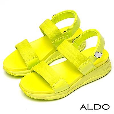ALDO 原色寬版一字鏤空繫帶魔鬼氈式厚底涼鞋~檸檬澄黃