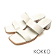 KOKKO極簡時髦方頭一字帶粗跟牛皮涼拖鞋白色 product thumbnail 1