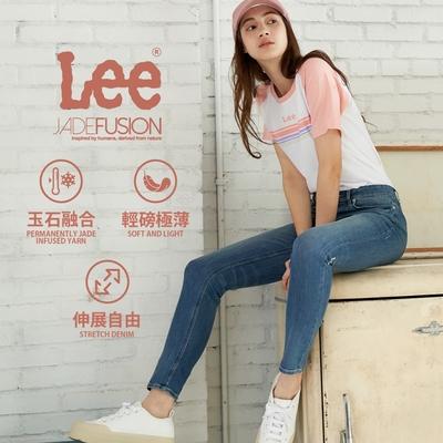 Lee 433 玉石涼感牛仔褲 Jade Fusion 中腰合身窄腳 女款 中藍色