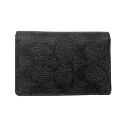 COACH 多卡片夾層名片夾(C LOGO-黑褐)