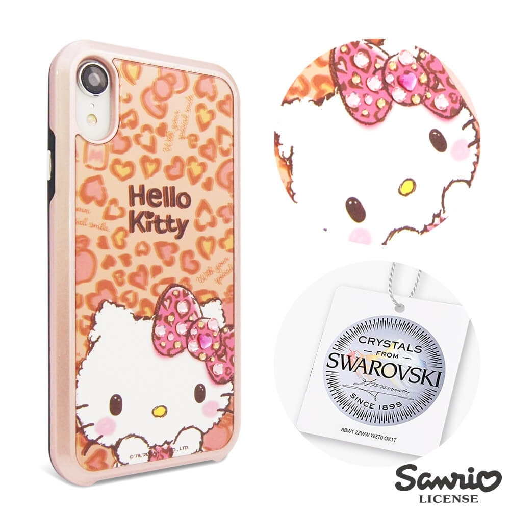 三麗鷗 Kitty iPhone XR 6.1吋施華彩鑽全包鏡面雙料手機殼-豹紋凱蒂