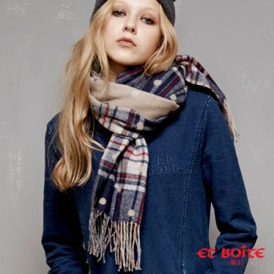 箱子 BLUE WAY-保暖格紋點點流蘇圍巾