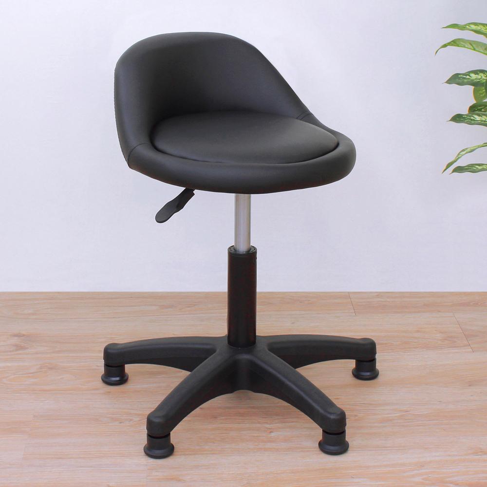 E-Style 高級皮革椅面(固定腳)工作椅/升降椅/旋轉椅/洽談椅/餐椅-黑色