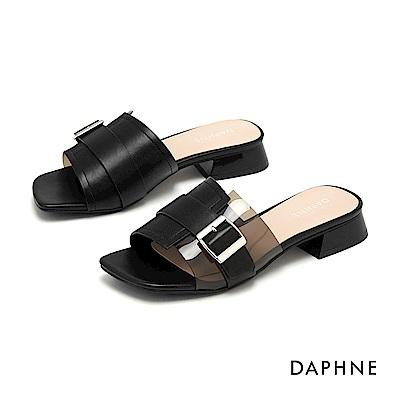 達芙妮DAPHNE 涼鞋-幾何方扣透明拚接低跟涼拖鞋-黑色