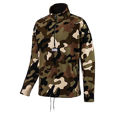 PUMA-男性流行系列野地迷彩刷毛立領外套-深林綠-歐規