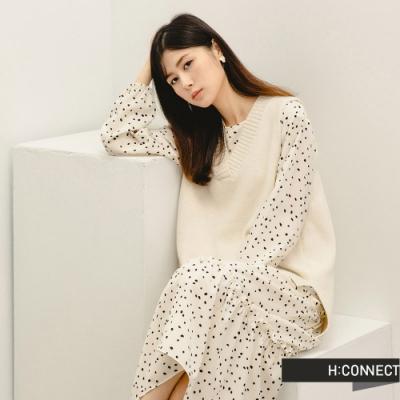 H:CONNECT 韓國品牌 女裝 -點點印花兩件式背心洋裝-卡其色