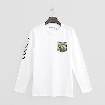 Hang Ten - 男裝 - 個性口袋長袖T恤-白色