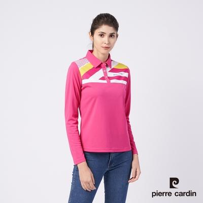 Pierre Cardin皮爾卡登 女款 吸濕排汗胸前數位印花薄長袖POLO衫-桃紅色 (4195201-76)