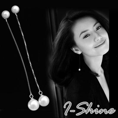 I-Shine-正白K-簡約氣質-韓國網紅氣質垂墜珍珠造型銀色耳線耳環DB41