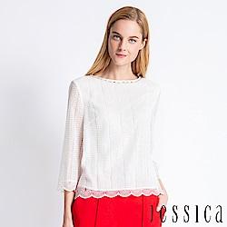 JESSICA - 雅緻微透花邊設計上衣(白)