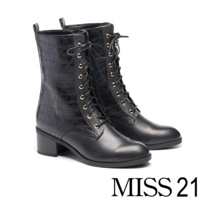 短靴 MISS 21 都會中性美綁帶側拉鍊粗跟短靴-壓紋黑