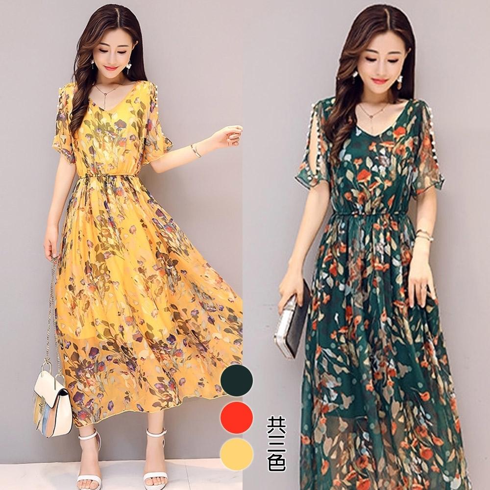【韓國K.W.】(現貨) 桑蠶絲百花系列洋裝